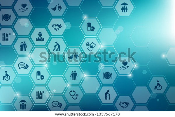Care Icon Concept Nursing Care Domestic Stock Vector