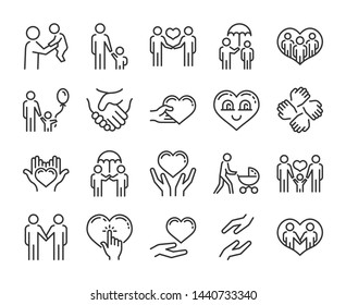 Care icon. Help and sympathy line icon set.