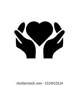 Care icon vector, Heart in hand Icon, Vector illustration