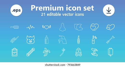 Care icons. set of 21 editable outline care icons includes pig, hair curler, lipstick, hearts, drop counter, ampoule, heart with muscles, banana, heartbeat clipboard