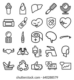 Care icons set. set of 25 care outline icons such as baby basket, mirror, electric razor, razor, cream box, hair brush, nail, eyeshadow palette, lipstick, recycle, tap