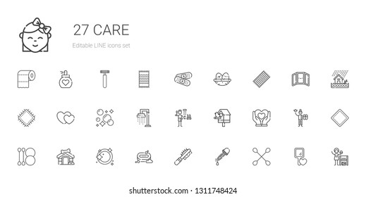 care icons set. Collection of care with cotton swab, eyedropper, pet brush, soap, dishwashing, dog house, heart, birdhouse, shower, hearts, patch. Editable and scalable care icons.