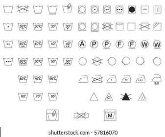 Care instruction symbols for fabric and clothes labels