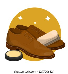 Care for leather shoes. Polishing clean footwear with wax. Business accessory. Classic style. Vector illustration in cartoon style