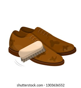 Care for leather shoes. Polishing dirty footwear with brush. Business accessory. Classic style. Vector illustration in cartoon style