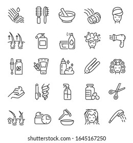 care and maintain healthy hair, icon set. Condition improvement, strengthening, trim and use of shampoo, conditioner, linear icons. Line with editable stroke