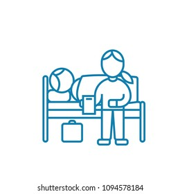 Care of the patient linear icon concept. Care of the patient line vector sign, symbol, illustration.