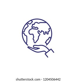 Care of planet line icon. Hand holding globe, ecology, peace. Recycling concept. Vector illustration can be used for topics like protection, ecosystem, travel