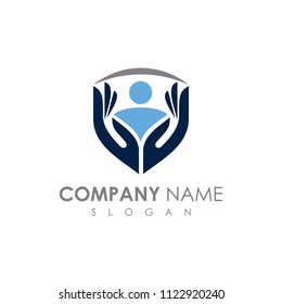 Care And Protection Logo, Shield With Hand And People Logo, Care Logo