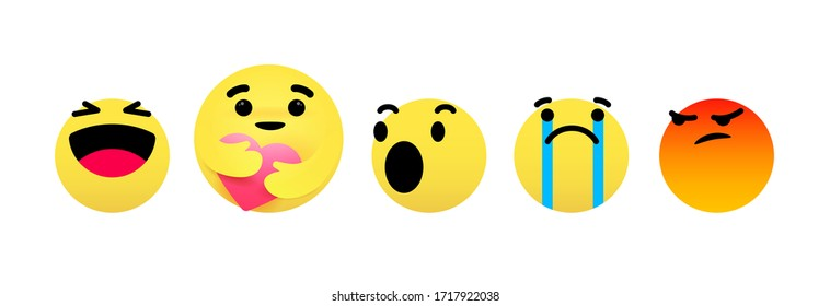 Care reaction emoji to support during the COVID19 crisis and other emoticons. Social media emoticon face set in laugh, care, wow, excited, sad, cry, angry emotions. Emoji face embracing the heart.