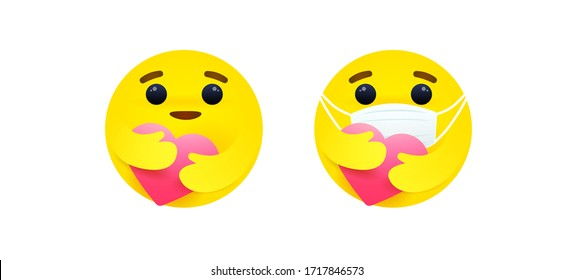 Care reaction emoji vector, Social media emoticon wearing face masks to protect PM2.5 and COVID-19. Emoji face embracing the heart. Face masks emoticon. Kindness, encourage emoji.