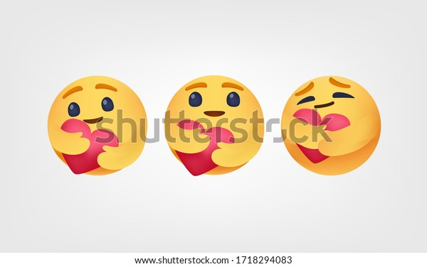 Care reactions emoticon 2020 high quality vector social media button Emoji Reactions printed on white paper Popular social networking