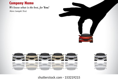 Care Sale or Car Key Concept Illustration : A hand silhouette choosing red colored car from a number of colorful cars display for sale