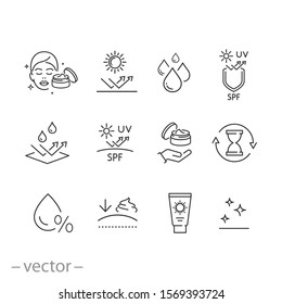 care skin icon set, sunscreen safeing for uv and water, cleansing and moisturizing, face mask, elasticity skin covering, thin line symbol - editable stroke vector illustration eps10