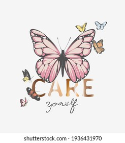 care yourself gold foil print slogan with colorful butterflies illustration