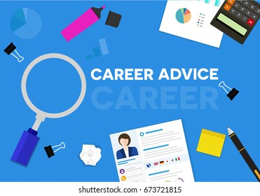 Career advice word banner, with the professional cv resume and office equipment tool