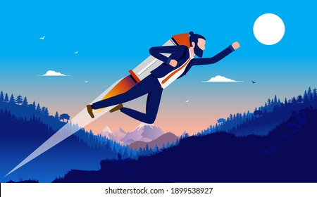 Career boost - Businessman with jetpack flying upwards towards success. Aiming high and motivated man concept. Vector illustration.