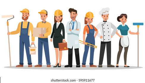 career characters design. Include painter, engineer, doctor and more.