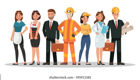 career characters design. Include waiter, businessman, engineer, doctor and more.