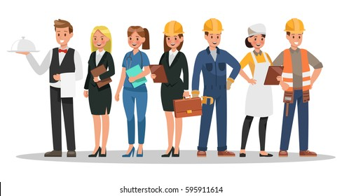 career characters design. Include waiter, businesswoman, engineer, doctor