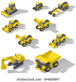 Career and construction transport isometric icon set vector graphic illustration