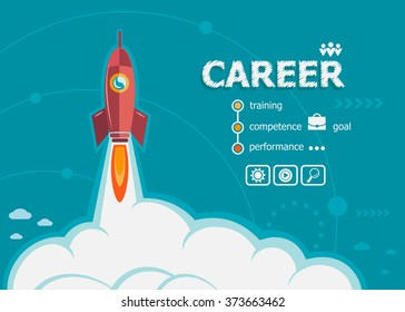 Career design and concept background with rocket. Career design concepts for web banner and printed materials.