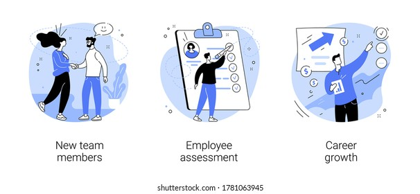 Career development abstract concept vector illustration set. New team members, employee assessment, career growth, performance review, SWOT analysis, job position, project team abstract metaphor.