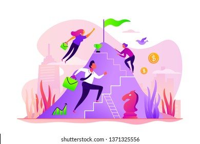 Career development, careerbuilder, personality development and career planning progress concept. Vector isolated concept illustration with tiny people and floral elements. Hero image for website.