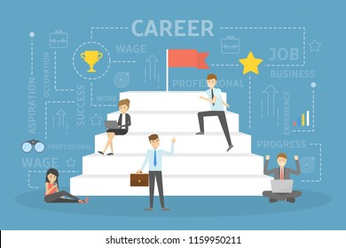Career development concept. People climbing up the stairs for the achievement and success. Flat vector illustration