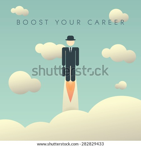 career development poster template businessman flying のベクター