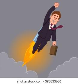 career development, rocket, success, happy cartoon character, vector illustration