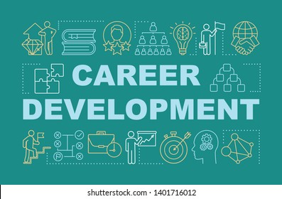 Career development word concepts banner. Personal growth presentation. Job opportunity. Isolated typography idea with linear icons. Achievement, success, improvement vector outline illustration