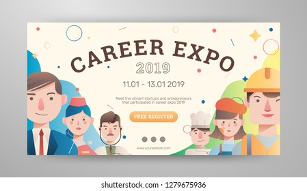 Career expo banner with avatar vector illustrations