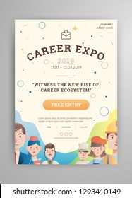 Career expo poster with avatar vector illustrations