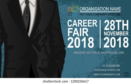 Career fair flyer & poster. Job offer EPS 10  on grunge background. The choice of the best suited employee. Businessman costume as a symbol of chosen one by the recruiter. Job seeking concepts.