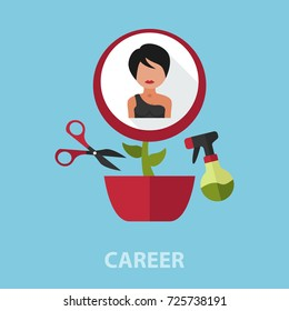 Career flat concept. Vector illustration. Element template for design.
