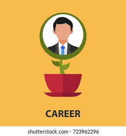 Career flower flat concept. Vector illustration