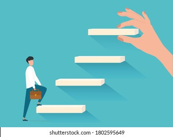 Career Growth Concept. Man Walking Upstairs While Hand Putting Steps Setting New Goals Over Blue Background. Vector Illustration