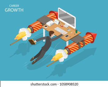 Career growth flat isometric vector concept. A man is flying fast holding on his office desk with fireworks rockets.