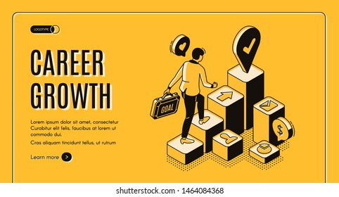 Career growth isometric landing page, businessman with briefcase in hand going upstairs by column chart with goal destination mark on top, job achievement, work progress. 3d vector line art web banner