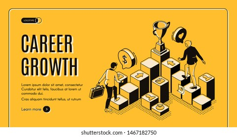 Career growth isometric landing page, businessmen going upstairs by column chart with trophy goblet stand on top, business challenge, job achievement, work progress. 3d vector line art web banner