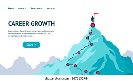 Career growth landing page. Process journey to success. Climbing to the top of mountains. Vector flat modern illustration success, achievment, motivation personal growth in business
