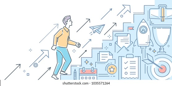 Career growth - modern color line design style illustration on white background. Metaphorical image of a businessman going up the stairs. Contracts, startup, targeting, personal development concept