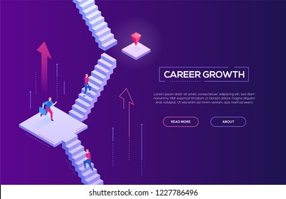Career growth - modern isometric vector web banner