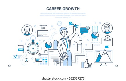 Career growth, progress in education and self-improvement, gain experience, improving personal qualities and characteristics. Illustration thin line design of vector doodles, infographics elements.