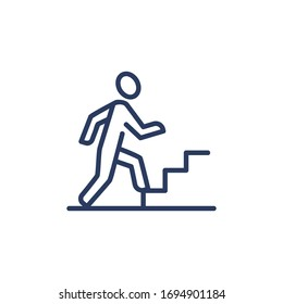 Career growth thin icon. Employee, worker, professional walking upstairs. Line icon for business, job success, leadership concept