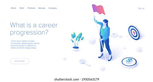 Laufbahnwachstum mit junger Frau mit Zielflagge. Erfolgreiche oder erfolgreiche Jobentwicklung bei Geschäftsfrau. Isometrische Vektorgrafik. Webbanner-Layoutvorlage.