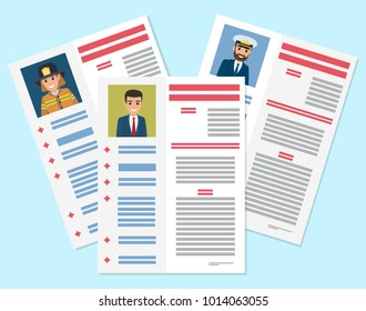 Career information leaflet flat vector. Job resumes pages with applicant portrait and personal data. Curriculum vitae or dossier. Profession presentation sheet illustrations for labor day concept