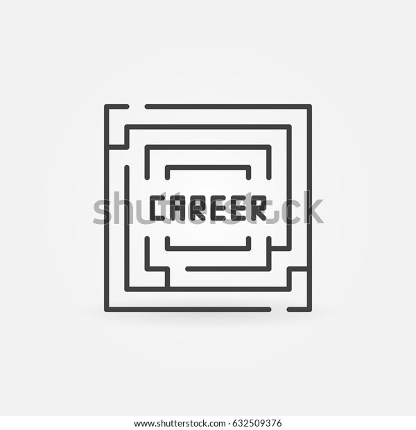 Career labyrinth icon - vector minimal square maze sign or design element with word CAREER inside