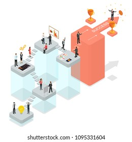 Career Ladder Business Step Concept 3d Isometric View Achievement Leadership. Vector illustration of Growth Opportunity and Success Stair